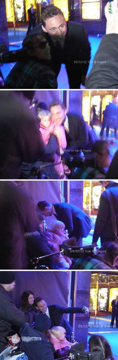 Tom held a little fan who sat on a wheelchair,and he's a little bit late for enter the theater because of this. #SOSWEET