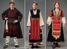 Ляво: празнична мъжка носия – с. Българи, Малкотърновско. Средата: носия на годеница, Лозенград. Дясно: празнична женска носия – с. Поповяне, Самоковско.