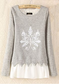 BEAUTIFUL Warm Comfy and Cozy Grey Patchwork Print Long Sleeve Cotton Blend T-Shirt!  #warm #cozy #fashion