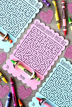 Maze Valentine's Day Cards {An Easy Cricut Project}