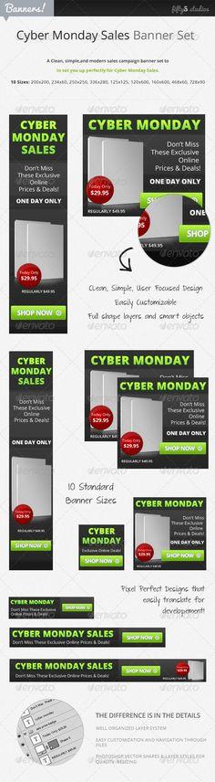 Cyber Monday Sales  Banner Set
