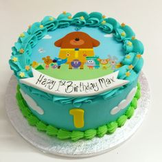 Hey Duggee - cakes and cupcakes - first birthday cake-Erster Geburtstagskuchen 2nd Birthday Cake Boy, Toddler Birthday Cakes, First Birthday Parties, First Birthdays, Birthday Ideas, Cake & Co, Cupcake Cakes, Custom Plates, Cake Ideas