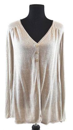 373512ad1c6 Eileen Fisher Sweater Cardigan MEDIUM Open Front Oatmeal Linen Silk Italian  Yarn  EileenFisher  Cardigan
