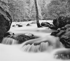 Merced River, Happy Isles, Yosemite by John Sexton Forest Photography, Fine Art Photography, Digital Photography, Photography Tips, Merced River, Black And White Landscape, Yosemite Valley, Photography Workshops, Ansel Adams