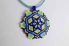 Yellow and blue handmade jewelry set. Beaded by AnnaMosztok