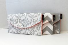 Set Of 3  Damask Chevron Dandelion  In Grey  Bridesmaid by BagEnvy, $54.00