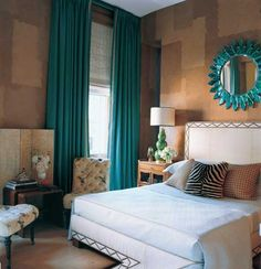 I like the teal window treatments and mirror with the soft colors. And how easy to change into a new color later!