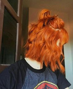 short hair | long bob | lob | haircolor | haircut | ginger | orange hair | copper | curly | half up #longbob
