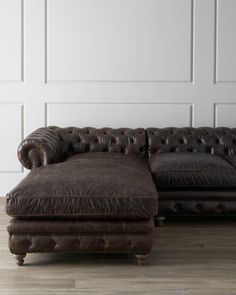 """""""Warner"""" Leather Sectional Sofa at Horchow."""