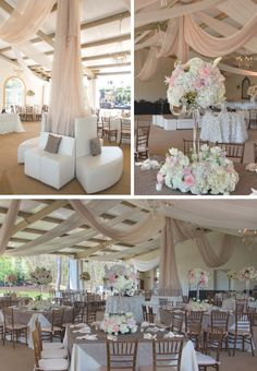 Loosely draped sheer fabric for a romantic look at the venue. See more Knoxville wedding inspiration with sheer drapery for your venue by All Occasions Party Rentals!   The Pink Bride www.thepinkbride.com