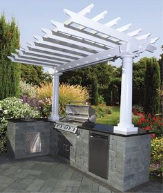 You can add a Cambridge 2 column pergola to your outdoor kitchen.