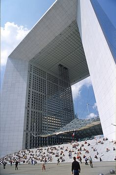 Grand arche de la défense, Paris.  Its a magnificent sight, but it totally set off my fear of heights for some reason.  LOL!