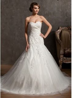 Wedding Dresses - $243.99 - Ball-Gown Sweetheart Cathedral Train Satin Tulle Wedding Dress With Lace Beading  http://www.dressfirst.com/Ball-Gown-Sweetheart-Cathedral-Train-Satin-Tulle-Wedding-Dress-With-Lace-Beading-002014962-g14962