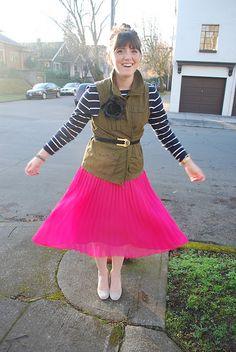 Shirt & Skirt & Flower: H&M, Vest: Old Navy, Shoes: Urban, belt: Vintage