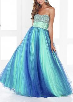 Amazaing Stretch Satin & Tulle Ball Gown Strapless Empire Waist Full Length Beaded Prom Gown