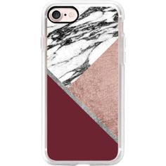 Modern Tri Cut Geometric Faux Rose Gold Silver Marble and Wine Triangles - iPhone 7 Case, iPhone 7 Plus Case, iPhone 7 Cover, iPhone 7 Plus Cover
