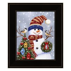 Snowman With Wreath Framed Christmas Wall Art, Multicolor Christmas Wall Art, Christmas Paintings, Christmas Scenes, Christmas Pictures, Christmas Snowman, Vintage Christmas, Christmas Holidays, Christmas Crafts, Christmas Decorations