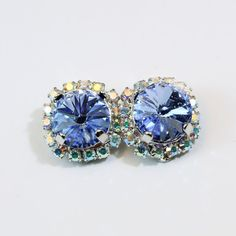 Blue Clip on earrings Light Blue AB Swarovski Crystal by TIMATIBO