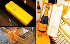Clever clever clever.  Veuve Clicquot champagne comes packaged in a mini fridge