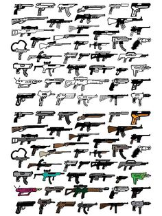 44 gun doodles, vectorized for your designing pleasure.