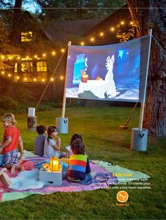 Outdoor movie set up