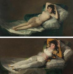 Francisco de Goya Spain) - La Maja vestida (The clothed Maja) Maja - naked and clothed. The naked Maja is much more carefully painted. Both are really lovely though. Francisco Goya, Spanish Painters, Spanish Artists, Classical Art, Famous Artists, Old Art, Ancient Art, Figure Painting, Oeuvre D'art