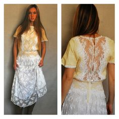 1980s Lace Dress Victorian Gunne Sax Gunnesax Jessica McClintock Off White and Bright White Lacey Short Sleeve Small Bridal Wedding Bride
