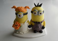 Minion wedding couple cake topper by MarzipanDecorations on Etsy