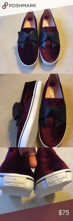 Kate Spade Velvet Sneakers Burgandy Velvet sneakers with black bow. Adorable and fun! NWOB. kate spade Shoes
