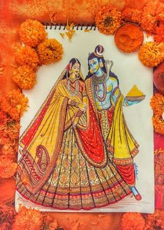 Fashion Illustration Collage, Fashion Illustration Dresses, Women Poster, Lehenga Collection, Krishna Painting, Indian Art Paintings, 3d Painting, Radhe Krishna, Gods And Goddesses