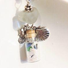 Texas Sea Glass Beach in a Bottle Beach glass necklace Glass vial seaglass beach glass mermaid jewelry Florida Sand Sea Shells Sea Glass