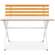 Ninna Modern Desk with Wood Slabs (255 CAD) ❤ liked on Polyvore featuring home, furniture, desks, white, wood desk, white desk, wood slab furniture, wood furniture and modern white desk
