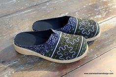 Womens Clogs Embroidered & Batik Hmong Slides  - product images  of