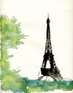 But sifferent color instead of the green? Watercolor Art, Art Painting, Art Photography, Eiffel Tower Art, Watercolor Architecture, Art, Watercolor Landscape, Pictures, Paris Art