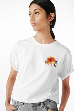 Monki Image 2 of Embroidered tee in White