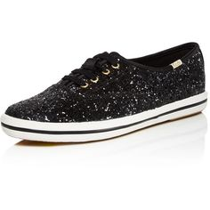 kate spade new york x Keds Glitter Slip-On Sneakers (285 BRL) ❤ liked on Polyvore featuring shoes, sneakers, black, black glitter shoes, kate spade, black slip-on sneakers, black trainers and glitter slip on sneakers