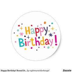 Round Sticker created by Personalize it with photos & text or purchase as is! Happy Birthday Clip Art, Happy Birthday Printable, Birthday Words, Happy Birthday Cake Topper, Birthday Clipart, Birthday Tags, Birthday Wishes, Birthday Background Design, Happy Birthday Calligraphy