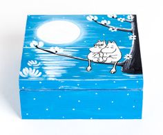 Wooden Jewellery box Blue Moomin Jewellery Box/Handpainted jewellery box