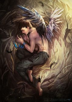 and still this heart will yearn Supernatural Drawings, Supernatural Fan Art, Bioshock, Sad Angel, Angels And Demons, Fallen Angels, Great Love Stories, Human Art, Superwholock