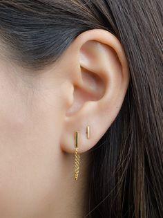 Bar Chain Stud Earrings- Thin Bar Earrings- Short Chain Earrings- Minimal Earrings- Staple Earrings- Line Earrings- Bridesmaid Moon Earrings, Emerald Earrings, Bar Earrings, Cartilage Earrings, Chain Earrings, Crystal Earrings, Statement Earrings, Geode Jewelry, Ear Jewelry
