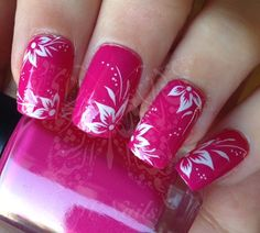 White Flowers Nail Art Water Decals Transfers Wraps by SWNails Fabulous Nails, Gorgeous Nails, Pretty Nails, Pretty Nail Designs, Nail Designs Spring, Fingernail Designs, Toe Nail Designs, Fancy Nails, Pink Nails