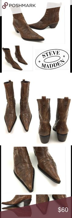 """Steve Madden Western Pointed Toe Leather Boots STEVEN by Steve Madden Western Pointed Toe Leather Boots  Women's Shoes Size 8 M Nice Pre owned Boots, in Good Shape No Holes, Stains or Fading Has Scuffs Marks- Shown in Photoshas Chipping Spot on Heel- Shown in Photos Elastic Sides for Added Comfort  Heel Height:2"""" boot Shaft:6"""" Original Box is Not Included       Item comes from a pet free/smoke free clean environment please contact me for any additional questions Steven by Steve…"""