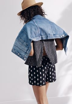 madewell oversized jean jacket work with the overlay romper + mesa hat.