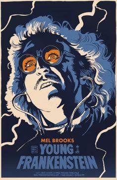 "Young Frankenstein (1974) Written & Directed by Mel Brooks. Writer: Gene Wilder. Based on novel ""Frankenstein"" by Mary Shelley. Dr. Frankenstein's grandson, after years of living down the family reputation, inherits granddad's castle and repeats the experiments. [starring: Gene Wilder, Peter Boyle, Madeline Kahn, Teri Garr, Cloris Leachman, Marty Feldman, Gene Hackman, Kenneth Mars...]."