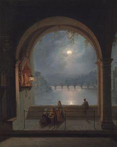 Vollmondnacht: Blick vom Ponte Vecchio in Florenz über den Arno, 1862, S. Paladini