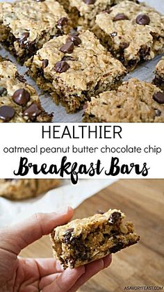 Healthier Oatmeal Peanut Butter Chocolate Chip Breakfast Bars Everything you need for breakfast: oats, peanut butter and a little bit of chocolate! These Healthier Oatmeal Peanut Butter Chocolate Chip Breakfast Bars are low in sugar and so filling! Chocolate Chip Bars, Chocolate Peanuts, Chocolate Peanut Butter, Chocolate Recipes, Peanut Butter Oatmeal Bars, Baked Oatmeal Bars, Peanut Butter Breakfast, Oatmeal Pancakes, Nutter Butter