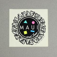 MAUI AND SONS Shark Tooth SURF STICKER Vintage 1989 (Sticker shows date!) - 4 in #MauiandSons