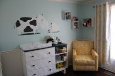 I can't say that I understand the farm themed wall decals, but the chair is pretty bomb. Loving yellow, apparently.