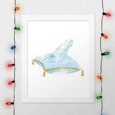 CINDERELLA SHOE PRINT, Princess Cinderella, Cinderella, Disney, Watercolor, Nursery, Crystal Shoe, Movie Poster, Wall Art, Digital Print by xNoxyArt