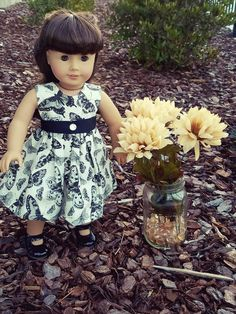 "American Girl Doll & 18"" Doll Black & Cream Party Dress  https://www.facebook.com/ALittleGlassSlipper/"